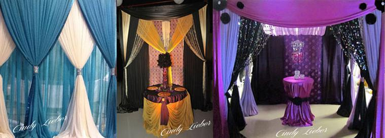 Backdrops and Canopies in your wedding colors.  Custom backdrops for your ceremony, reception, photobooth, and cake/dessert tables.