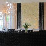 Gatsby inspired Gold, Black, White/Ivory Flowerwall backdrop with Crystal Tree adorned with White Feathers