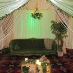 Our Green and Gold canopy along with our Moss couch, batery operated chandelier, silk tree, and coffee table crates made a great lounge area and photo spot at Commerce Casino's Anniversary party.