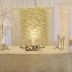 Ivory flowerwall for head table backdrop