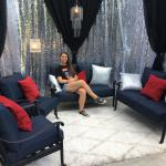 Silver sequin and black sheers make a great lounge are for this Teen Hollywood themed party