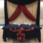 Custom design Navy, Gold, and Maroon backdrop for a sweetheart table at Fullerton Community Center.